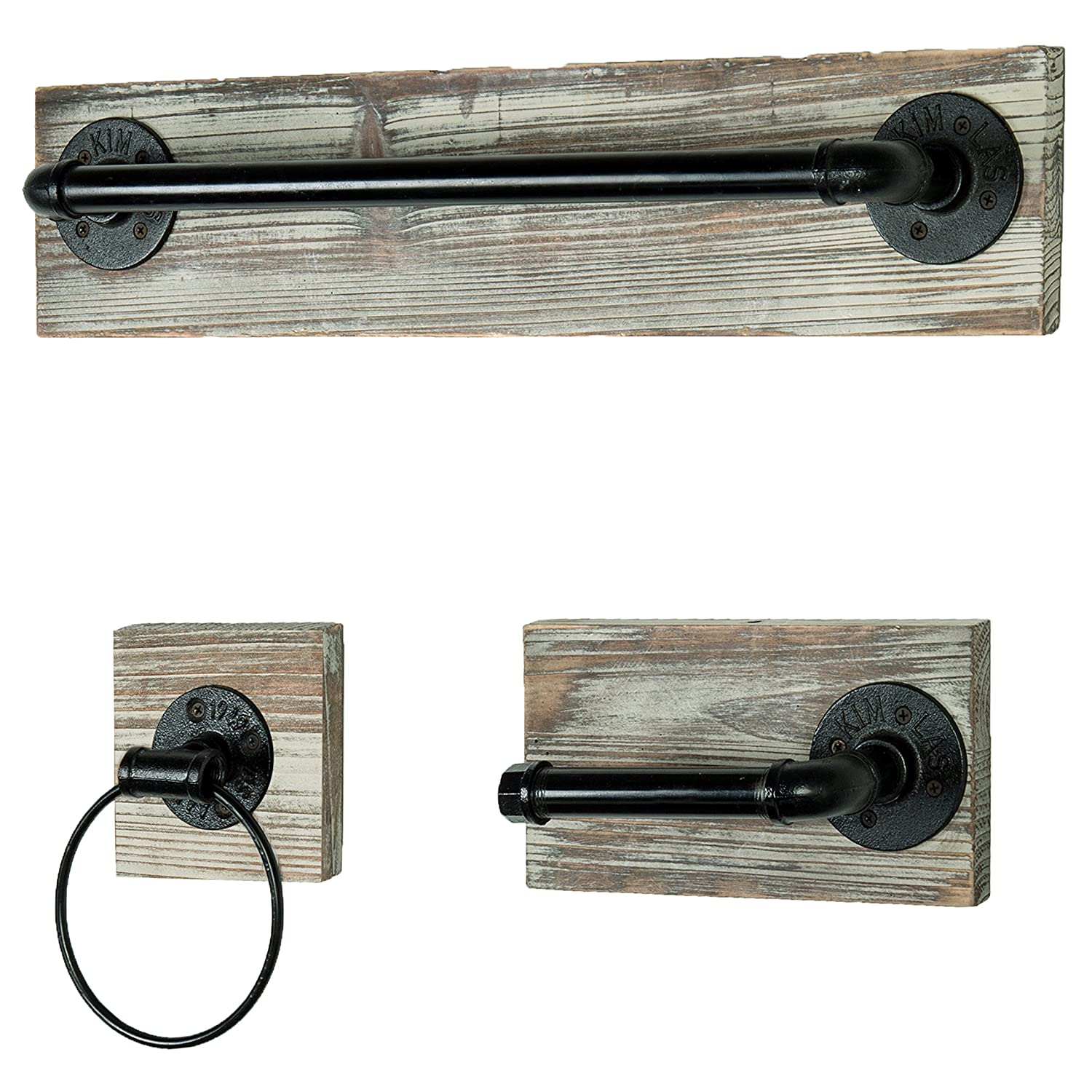 MyGift Wall-Mounted Industrial Rustic 3 pc Bathroom Fixture with Towel Bar, Towel Ring & Tissue Holder