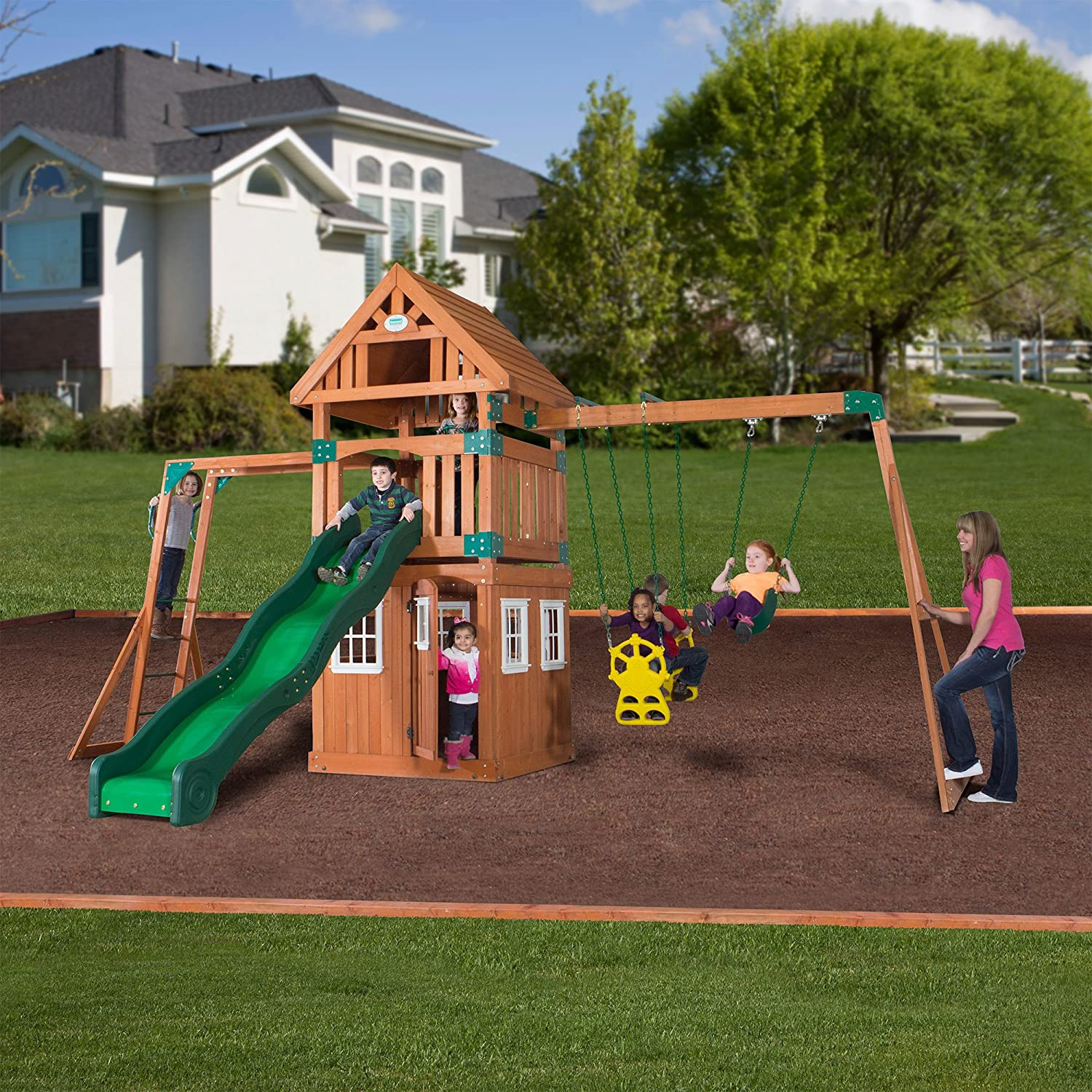 wooden swing set free standing swings these rugged wooden swing