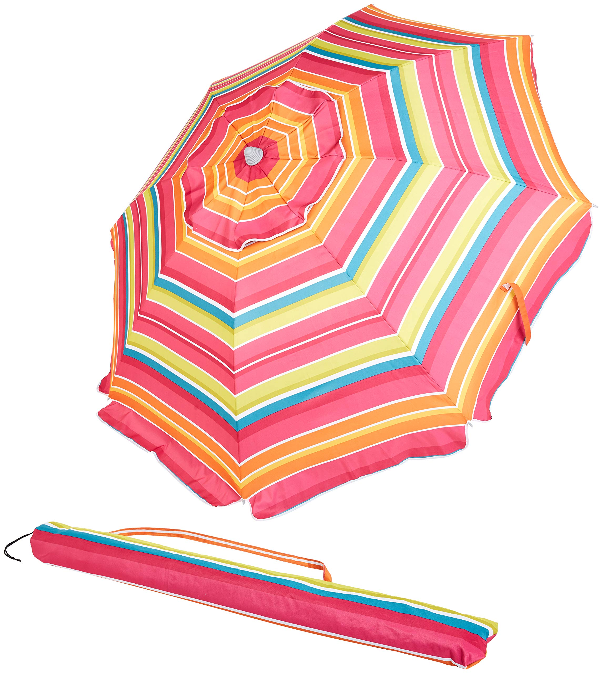 AmazonBasics Beach Umbrella - Pink/Yellow Striped by AmazonBasics