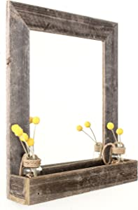 BarnwoodUSA Large Farmhouse Mirror with Reclaimed Wood Shelf, Rustic Wall Decor