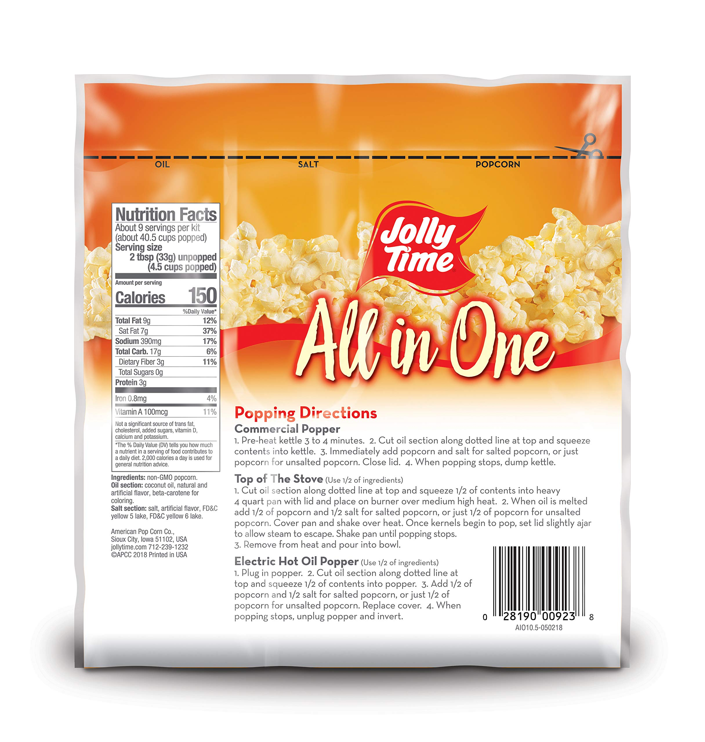 JOLLY TIME All in One Kit for 8 oz. Popcorn Machine | Portion Packet with Kernels, Oil and Salt for Commercial, Movie Theater or Air Popper (Net Wt. 10.5 oz. Each, Pack of 24) by Jolly Time (Image #3)