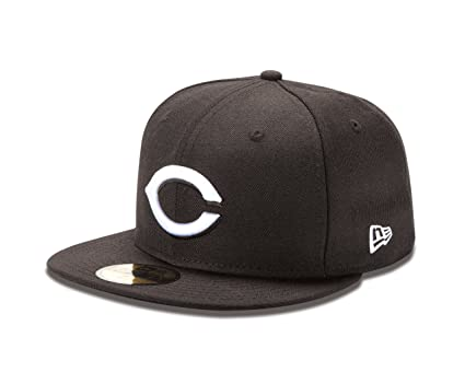 low priced 57822 9fbc7 MLB Cincinnati Reds Black with White 59Fifty Baseball Cap, 6.5-Inch