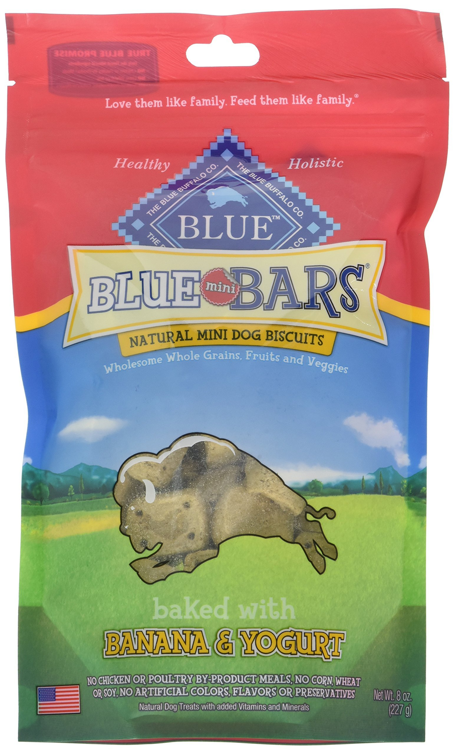Blue Buffalo Wilderness Blue Mini Bars Dog Treats Variety Pack - 3 Flavors (Blueberry & Yogurt, Chicken & Cheddar, and Banana & Yogurt) - 3 Pouches (8 Ounces Each)