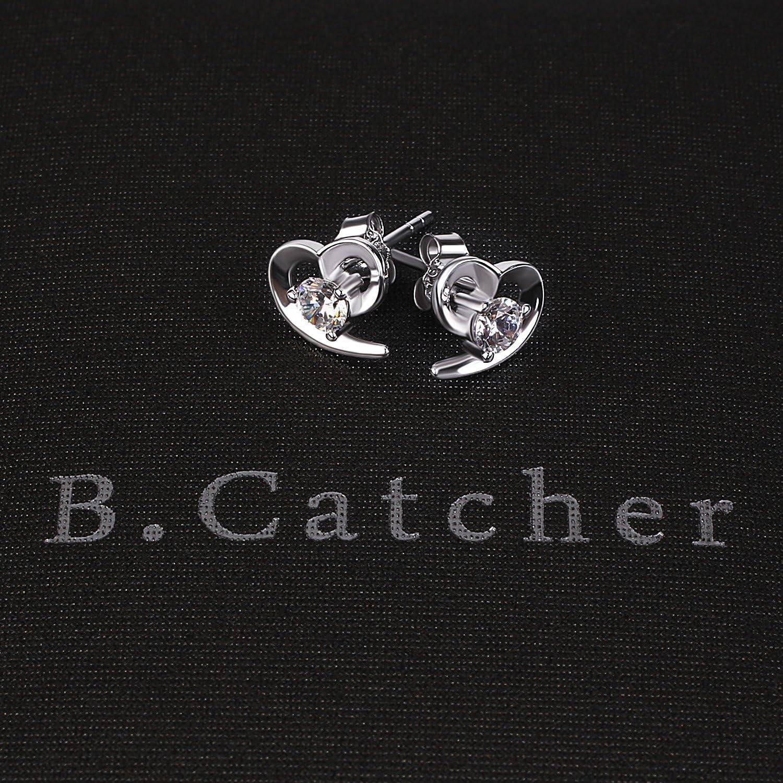 les anniversaires Cadeau pour les f/êtes Zirconium cubique Coeur B.Catcher Boucles doreilles en argent /étincelantes La f/ête des m/ères clous doreilles