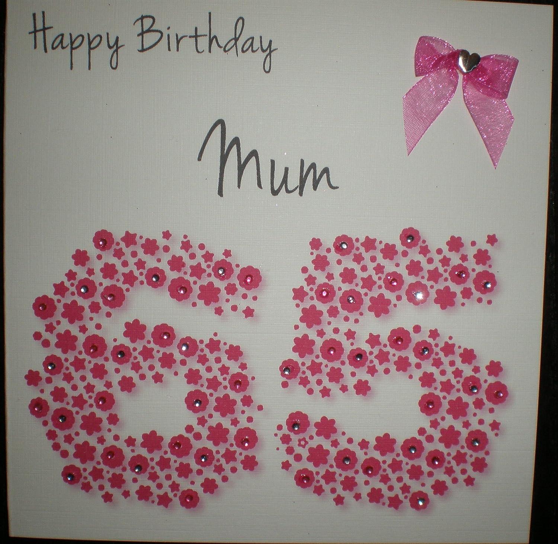 Happy Birthday Card Mum 65th Bright Pink Flowerbed Handmade – Birthday Cards for Mum