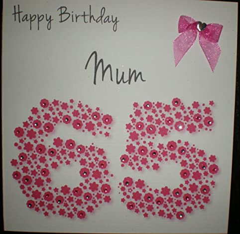 Amazon Happy Birthday Card Mum 65th Bright Pink Flowerbed