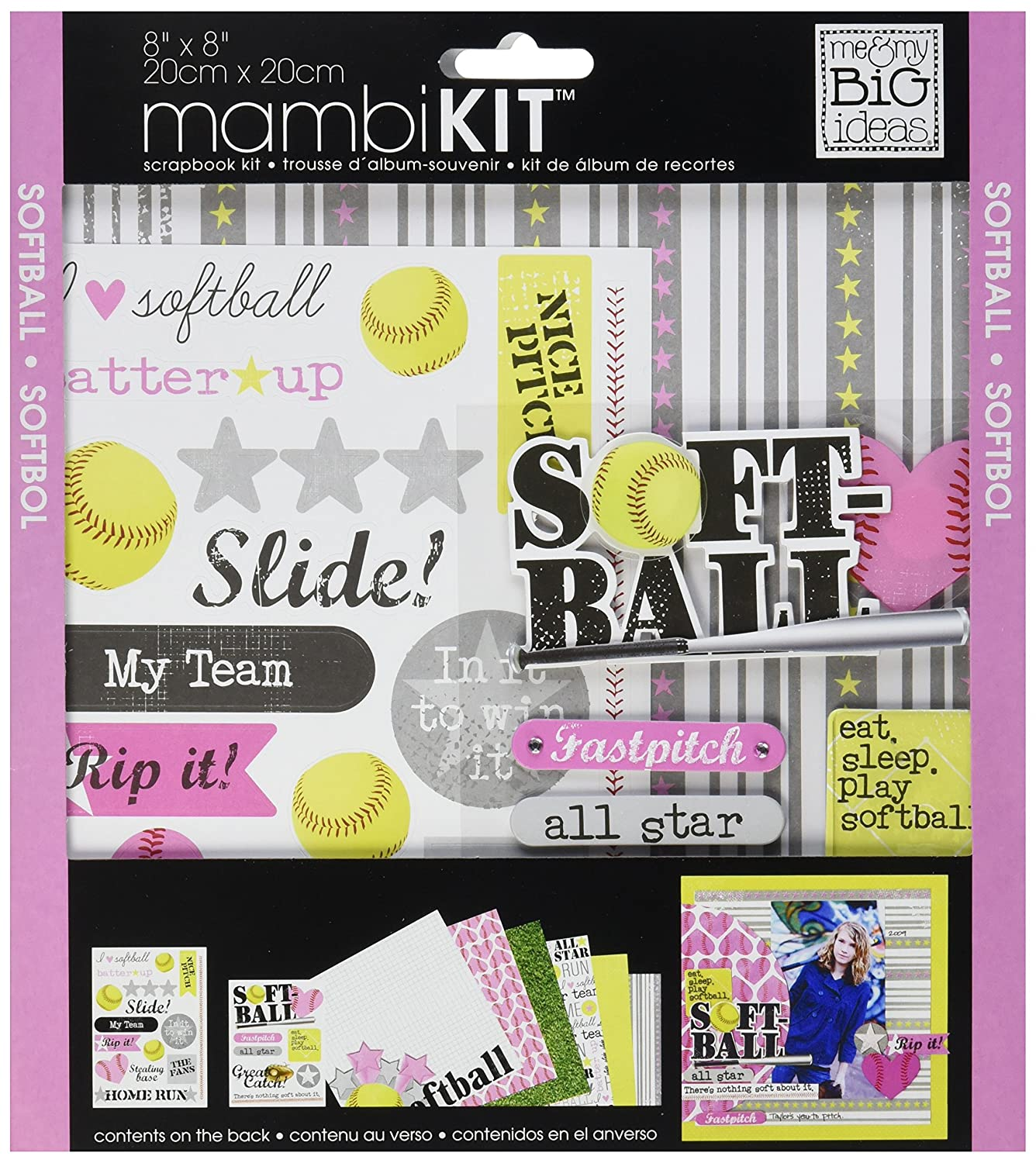 me & my BIG ideas Scrapbook Page Kit, I Heart Softball, 8-Inch by 8-Inch Me and My Big Ideas PK-292