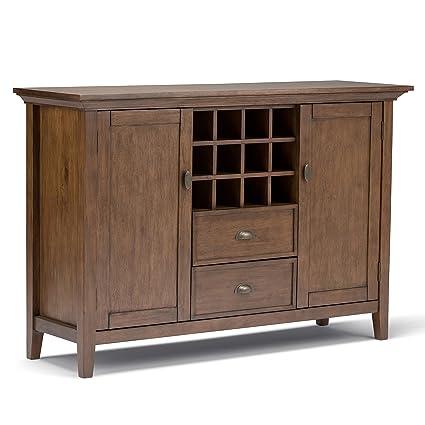 Simpli Home Redmond Solid Wood Sideboard Buffet Winerack Rustic Natural Aged Brown