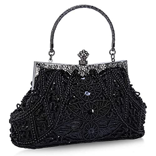 Clocolor Satin Beading Handmade Clutch Purse Evening Handbags Collection  Louise Beaded and Sequined Evening Bag ( 30a1ab9a84733