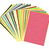 """6528 pcs 1/4"""" Round Color Coding Circle Dot Labels, 16 Colors"""