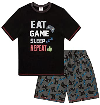 Boys Eat Sleep Game Repeat Controller Short Pajamas 10 to 15 Years AOP (11)