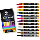 Premium Paint Pens by Beric 12 pack, Water-based, Marker, Extra Fine Point Tip, Writes on Almost Anything, Water and Sun Resistant Vibrant Colors Low Odor Long Lasting Fast Drying Assorted Colors