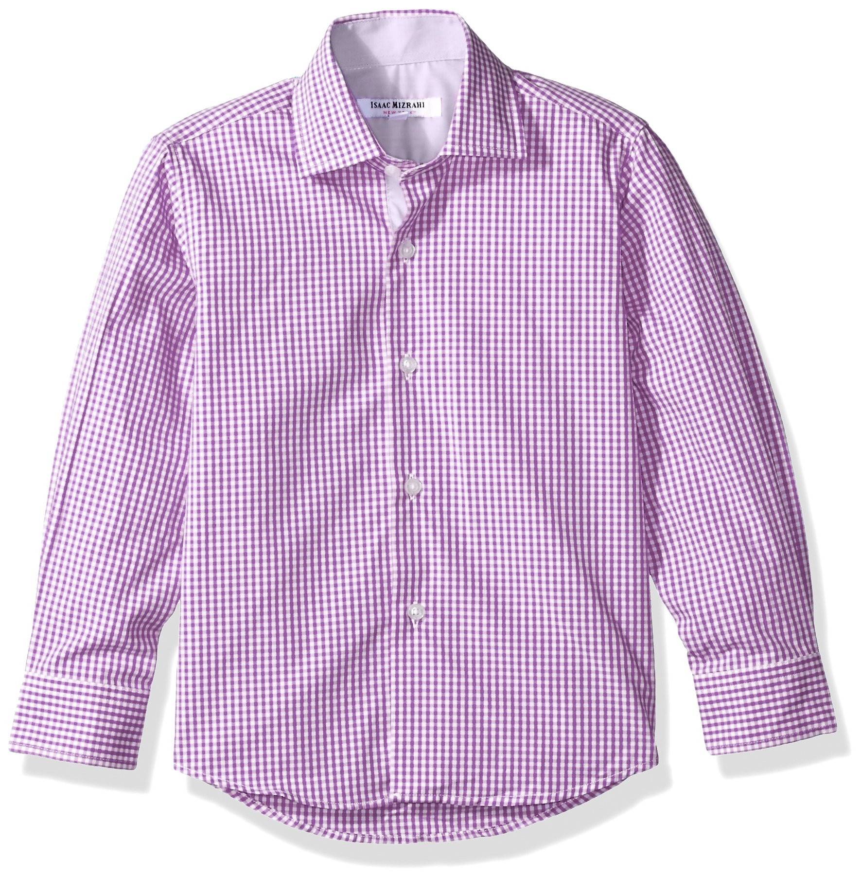 Isaac Mizrahi Big Boys' Cotton Gingham Button Down, Purple, 8