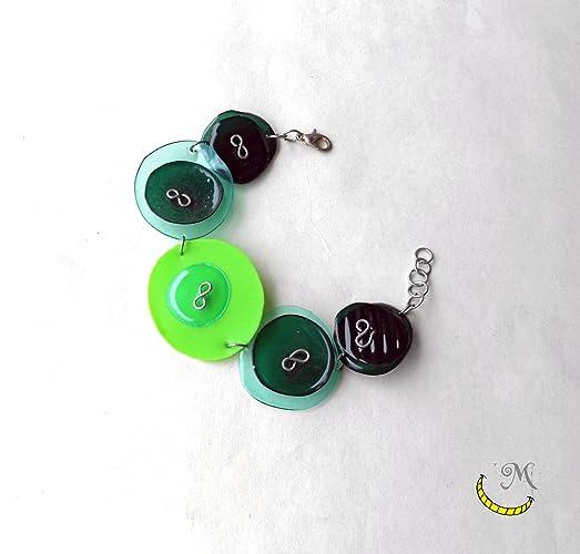Pulsera de plastico reciclado - verde - pois - minimal - sencillo - divertido
