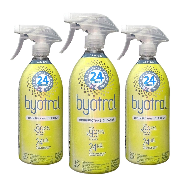 Byotrol Daily Disinfecting all-purpose Cleaner with 24-hrサーフェスの消毒用電源 – Kills Overバクテリアの99.9の24時間 – 32オンス消毒スプレーボトル(Pack of 3 ) B07CRQPW5T  Lemon