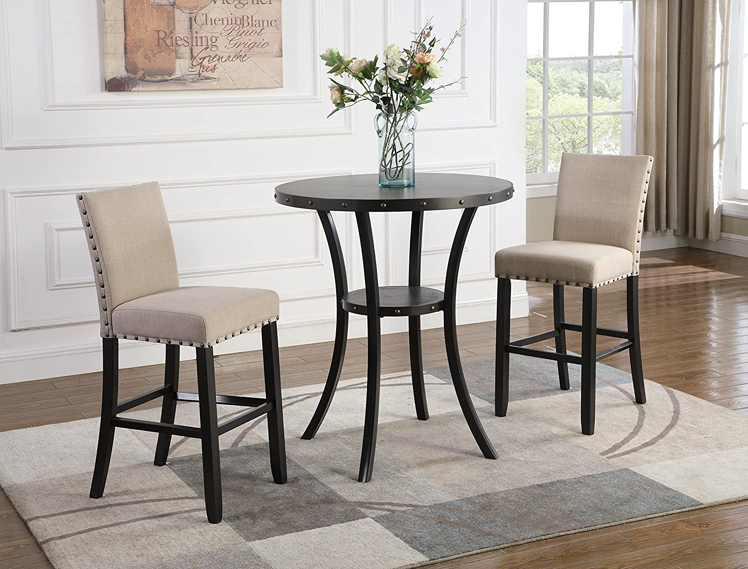 """Roundhill Furniture Biony 3-Piece 36"""" Round Espresso Bar Table with Nail Head Stools, Tan"""
