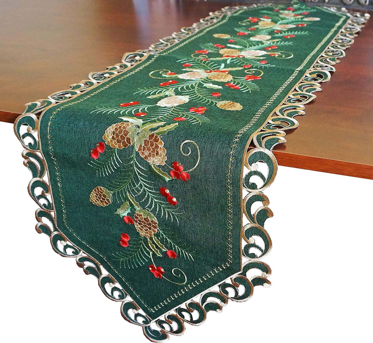 """GRANDDECO Holiday Christmas Table Runner 13""""x54"""", Cutwork Embroidered Floral Pine Cone and Holly Berry Dresser Scarf Table Topper for Home Dining Xmas Tabletop Decoration (Runner 13""""x54"""", Dark Green)"""
