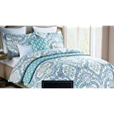 Cynthia Rowley Bedding 3 Piece Duvet Cover Set Geometric Medallions in Shades of Blue Yellow Gray on White (Full / Queen)
