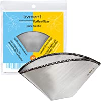 livment Reusable Coffee Filter - Stainless Steel Mesh Permanent Filter | Paperless Basket Shaped Filter for Coffee…
