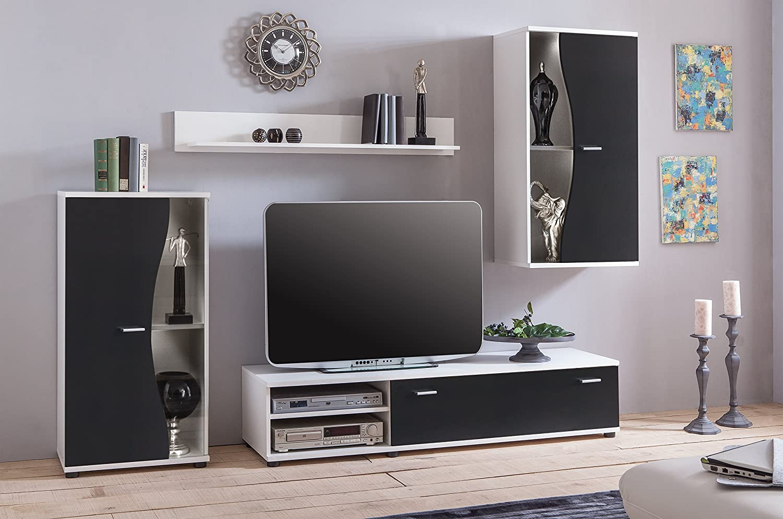 Modern black living room furniture set tv unit wall mounted cabinet cupboar amazon co uk kitchen home