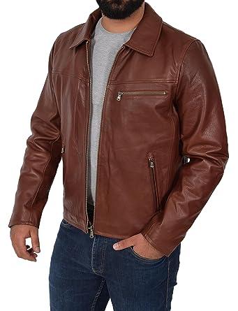 675756a3fad Mens Real Leather Jacket Brown Heavy Duty Full Grain Zip Box Coat Clint  (Small)