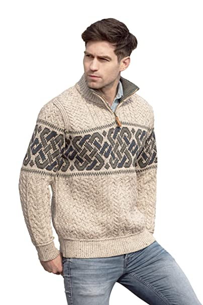 3e27ef344d6c Carrolls Irish Gifts Men s Half-Zipped Jacquard Sweater with Celtic Knitted  Design