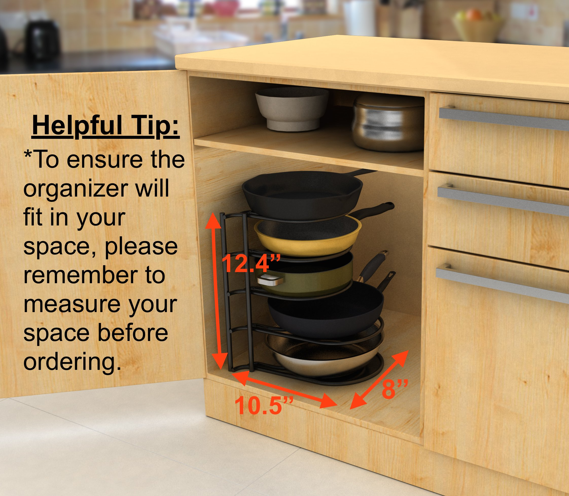 Extreme Matters Heavy Duty Pan Organizer - Bottom Tier 1 Inch Taller for Larger Pans - No Assembly Required - Black by Extreme Matters (Image #4)