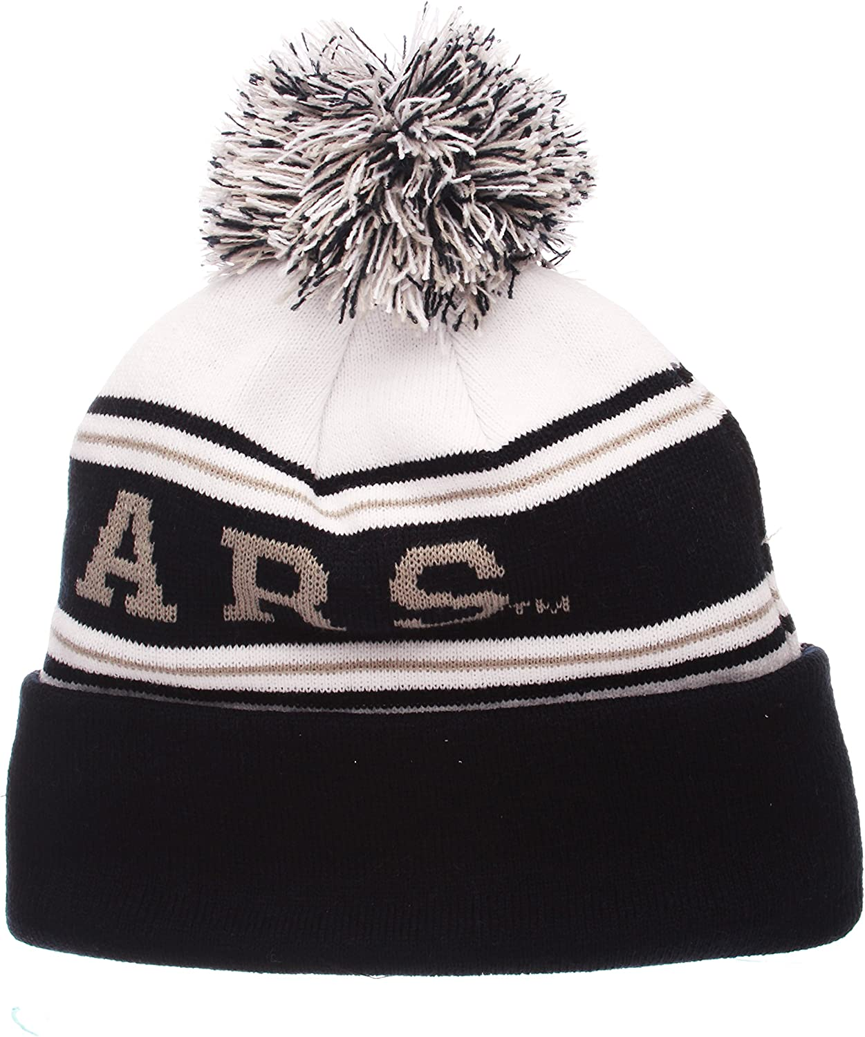 NCAA ZHATS Fashion Cuffed Winter Knit Cap Zephyr Finish Line Arctic Cuff Beanie Hat with Pom Pom