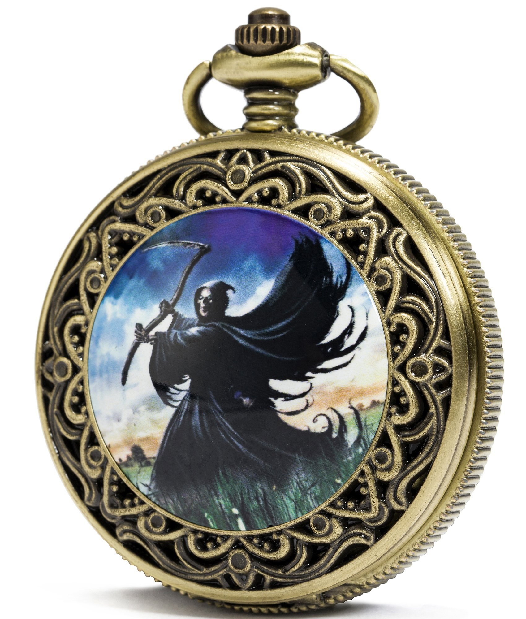 SEWOR Fashion Bronze Quartz Enamel Painting Pocket Watch Black Dial + Leather Gift Box (Death cemetery)