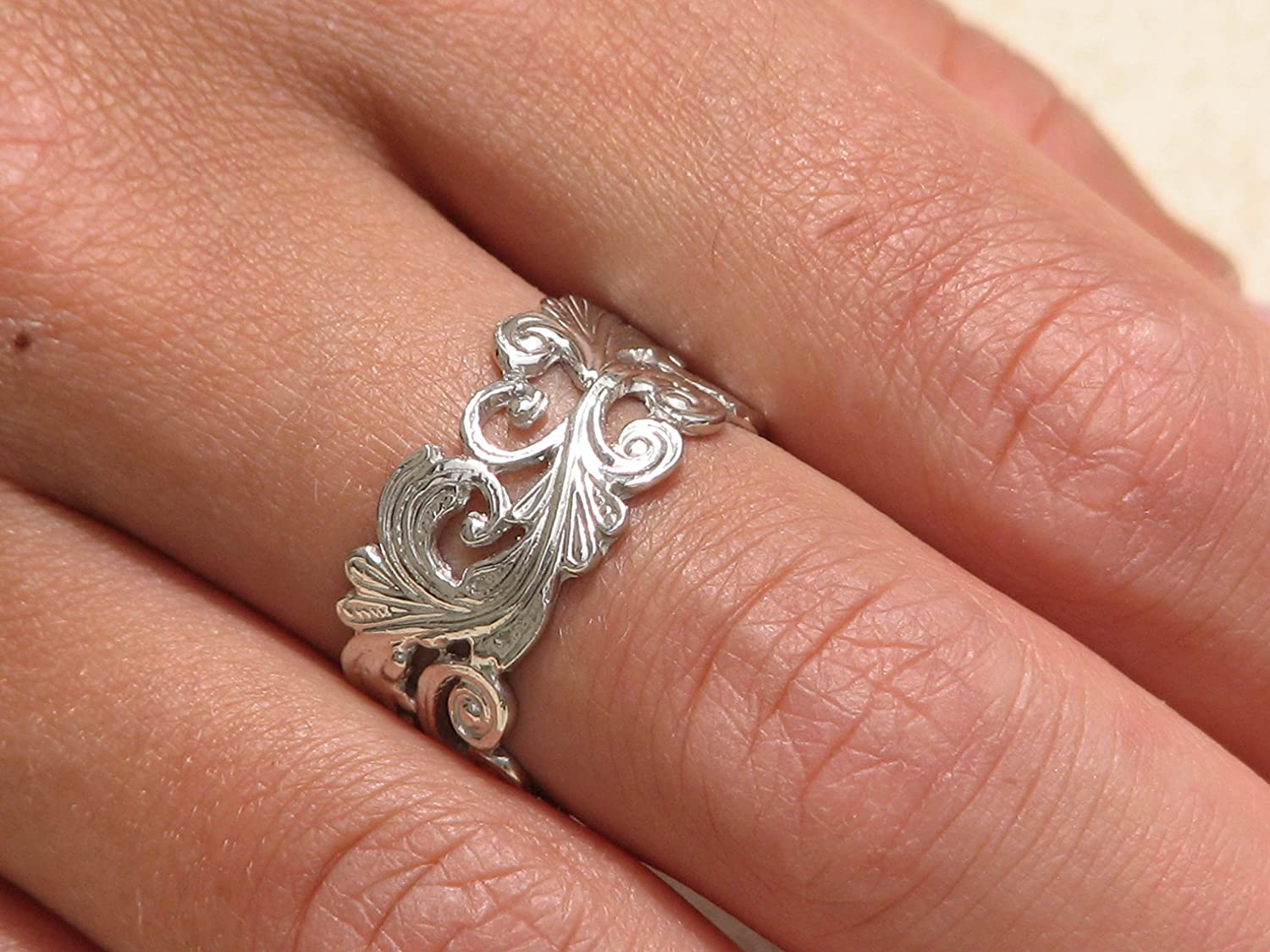Bridal Sterling Silver band Unique Ring Gift Size 5.5 Handmade Vintage Style Women Wedding Ring