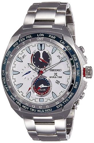 Seiko Reloj Cronógrafo para Hombre de Energía Solar con Correa en Acero Inoxidable SSC485P1: Amazon.es: Relojes