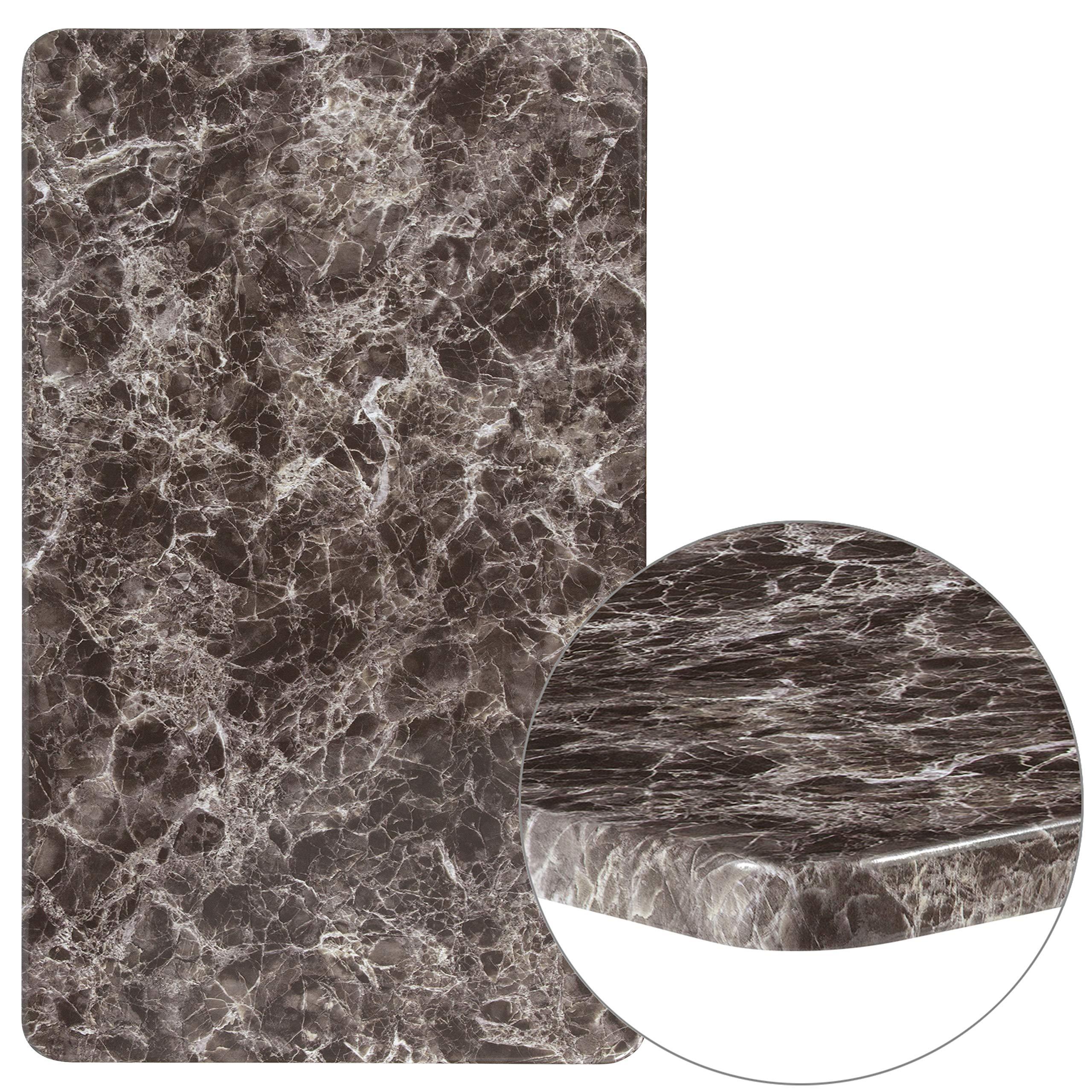 Flash Furniture 24'' x 42'' Rectangular Gray Marble Laminate Table Top