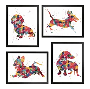 Framed Dachshund Watercolor Poster Set Sausage Dog Weiner Doxie Pet Lover Gift Home Living Room Bathroom Bedroom Decor Wall Art Print Painting Picture