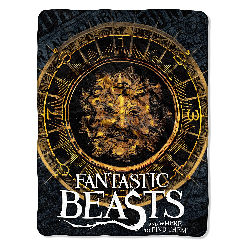 Fantastic Beasts,Many Faces Micro Raschel Throw Blanket, 46 x 60 46 x 60 The Northwest Company 1FTB059000001RET