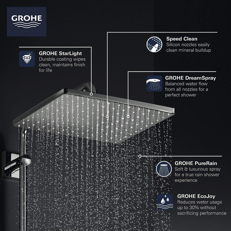 Alcachofa de ducha de 1 chorro color plateado Grohe Rainshower Mono 310 Cube