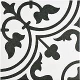"SomerTile FCD10ARW Burlesque Porcelain Floor and Wall Tile, 9.75"" x 9.75"", Black/Grey/White"