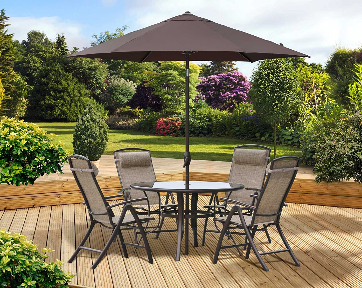 Pagoda Rio Garden Furniture with Round Table & 8 Reclining Seats