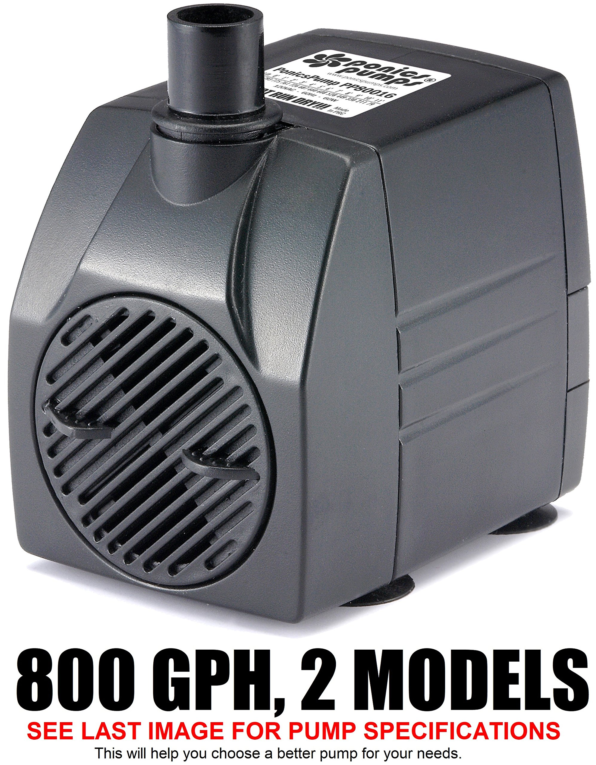 PonicsPump PP80016: 800 GPH Submersible Pump with 16' Cord - 60W... for Hydroponics, Aquaponics, Fountains, Ponds, Statuary, Aquariums, Waterfalls & more. Comes with 1 year limited warranty.