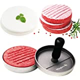 Meykers Burger Press 100 Patty Papers Set - Non-Stick Hamburger Press Patty Maker Mold with Wax Patty Paper Sheets Meat Beef