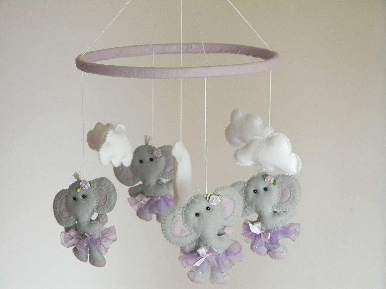 Lavender Nursery Amazoncom Elephant Baby Crib Mobile Ballerina Cot Mobile