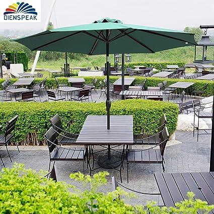 Beau Dienspeak Updated Version 9 Ft Market Outdoor Beach Aluminum Table Patio  Umbrella With Push Button Tilt