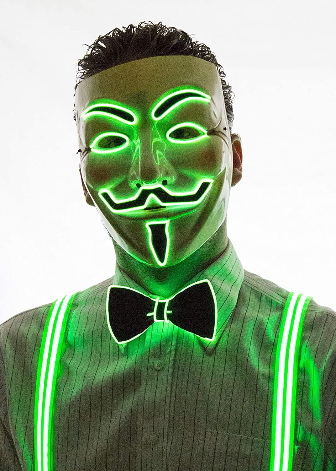 Neon Nightlife Light Up V for Vendetta Anonymous LED mask Guy Fawkes Mask One Size