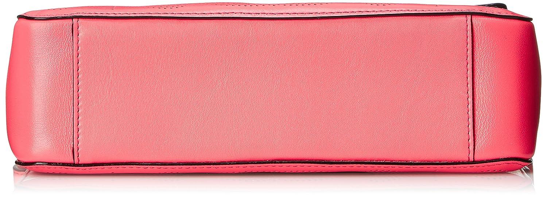 Orla Kiely Sixties Stem Punched Leather Olivia Shoulder Handbag, Pink, One Size