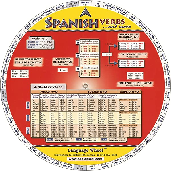 Amazon Com Spanish Verbs And More Language Wheel French Edition 9780973648485 Rdl Editions Books