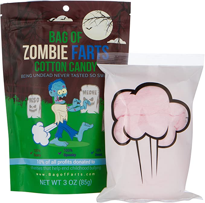Review BAG OF FARTS Candy Funny All Ages Unique Birthday Gag Gift Friends, Mom, Dad, Girl, Boy Grandson Granddaughter Stocking Stuffer While Elephant Christmas (Zombie Farts Cotton Candy)