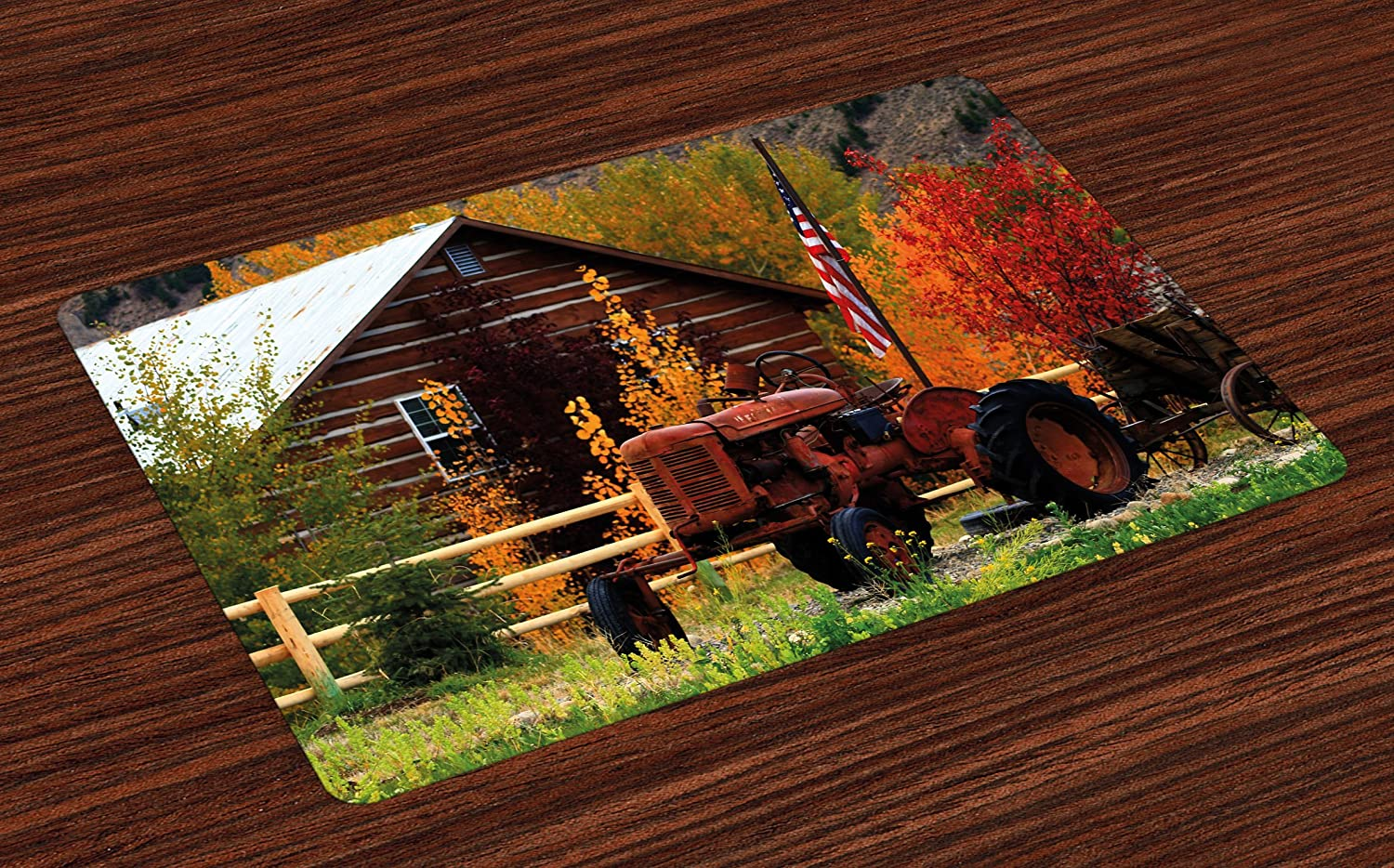 Ambesonne Fall Place Mats Set of 4, Rustic Cabin with Rusty Tractor Country Cottage House Seasonal Colors US Flag Loyalty, Washable Fabric Placemats for Dining Room Kitchen Table Decor, Multicolor