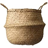 Cocoboo Natural Seagrass Belly Basket, Storage, Laundry basket, Handmade, Lightweight, Foldable (13.7in X 12.6in) Medium