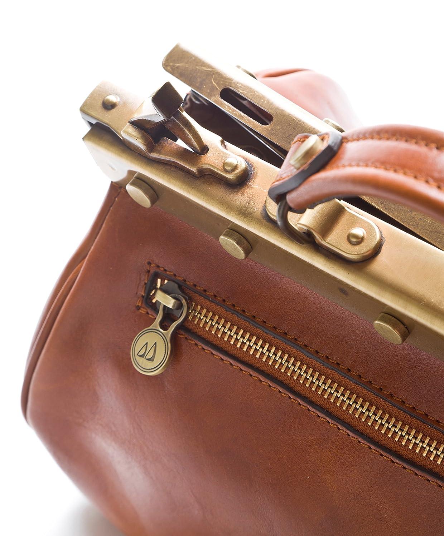 Doctor Bag i vintagestil med full metall dragkedja och vegetabiliskt garvat läder Testa Di Moro