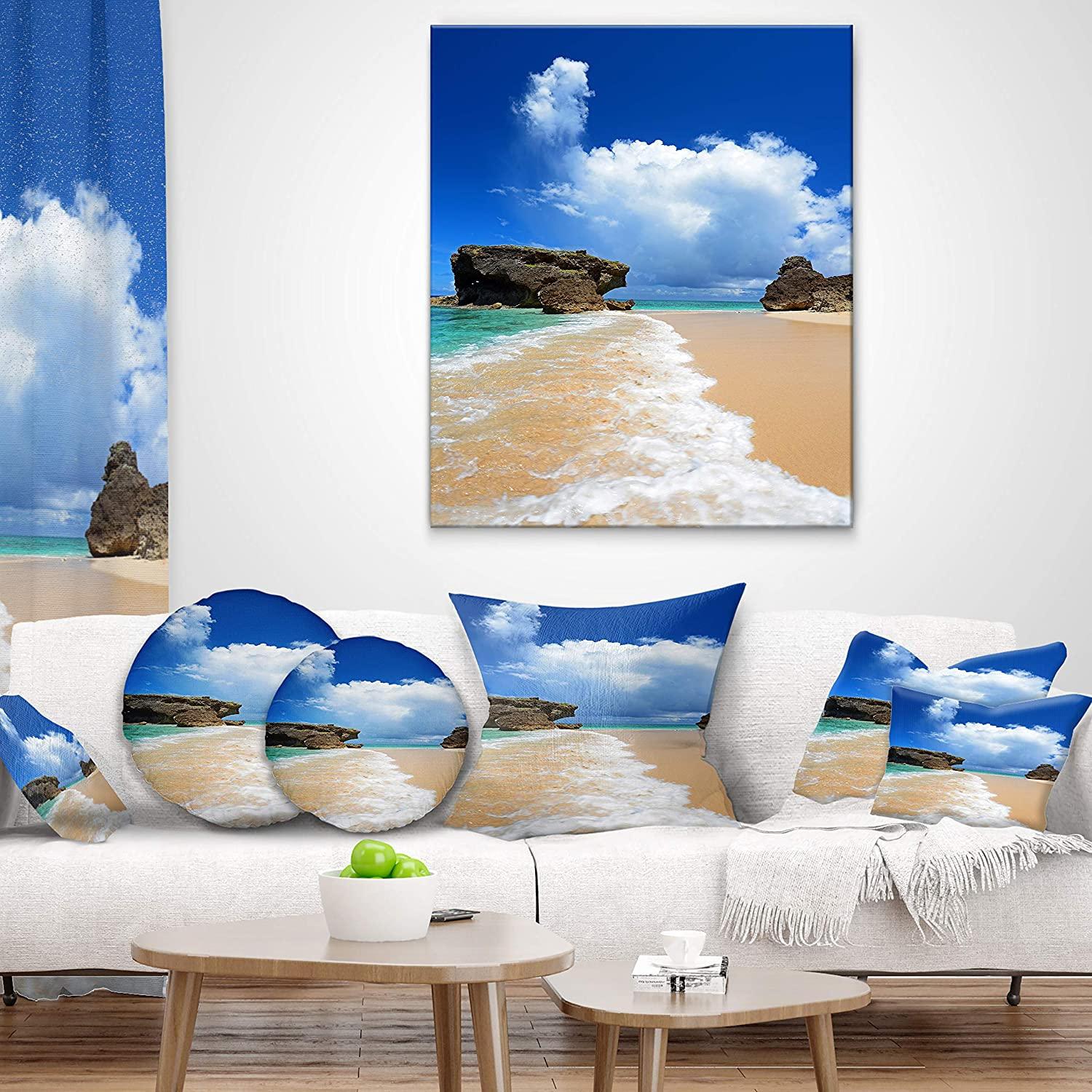 in x 20 in Sofa Throw Pillow 12 in Designart CU8942-12-20 Emerald Green of Okinawa Beach Photography Lumbar Cushion Cover for Living Room