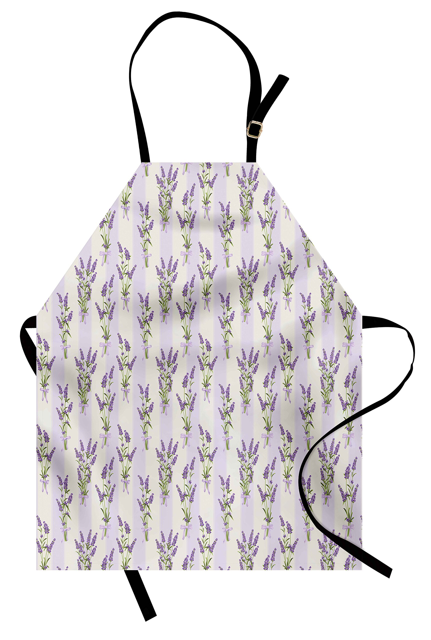 Ambesonne Lavender Apron, Stripes and Flowers with Ribbons Romantic Country Spring Season Inspired Design Art, Unisex Kitchen Bib Apron with Adjustable Neck for Cooking Baking Gardening, Purple